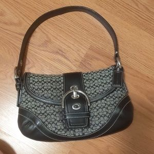 Coach Soho Signature Jacquard/ Leather Black Purse